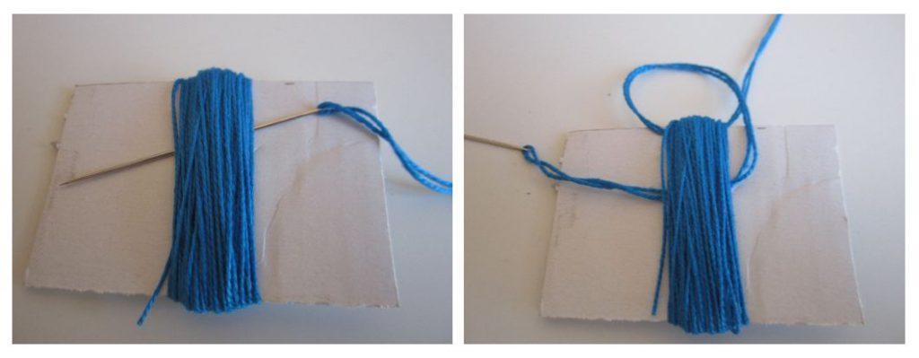 mis nancys, mis peques y yo, tutorial DIY borlas colores pasar hebra