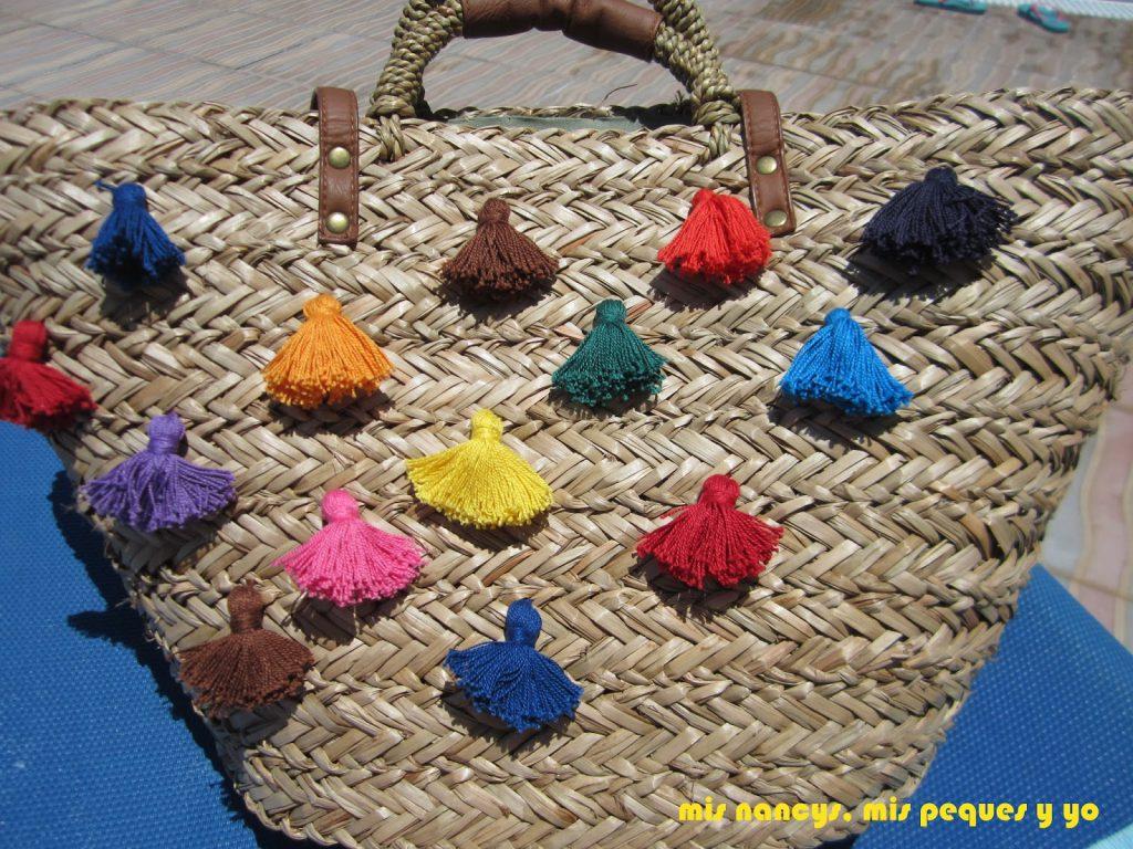 mis nancys, mis peques y yo, tutorial DIY cesta playera con borlas, proceso