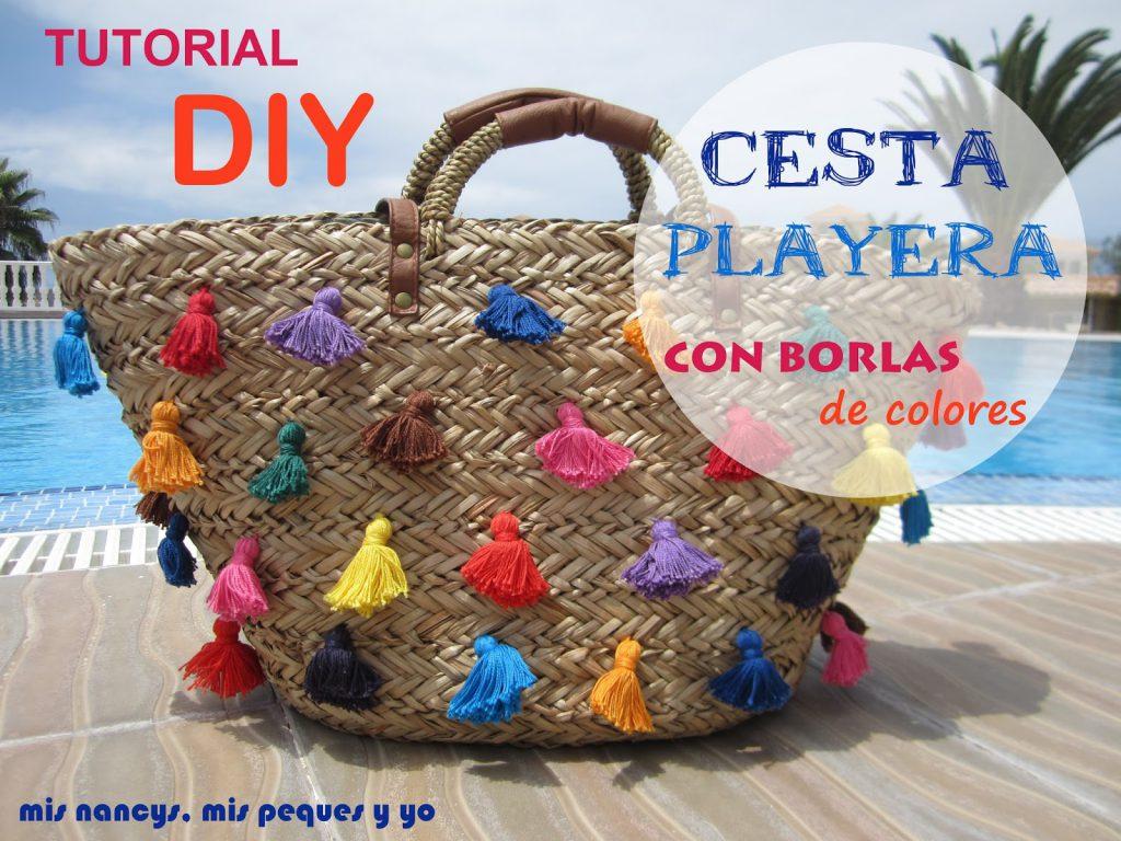 mis nancys, mis peques y yo, tutorial DIY cesta playera con borlas colores