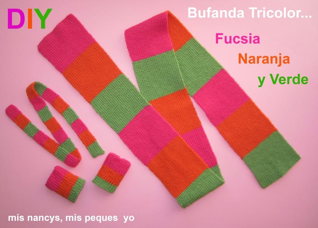 mis nancys, mis peques y yo, tutorial bufanda tricolor para niña y nancy