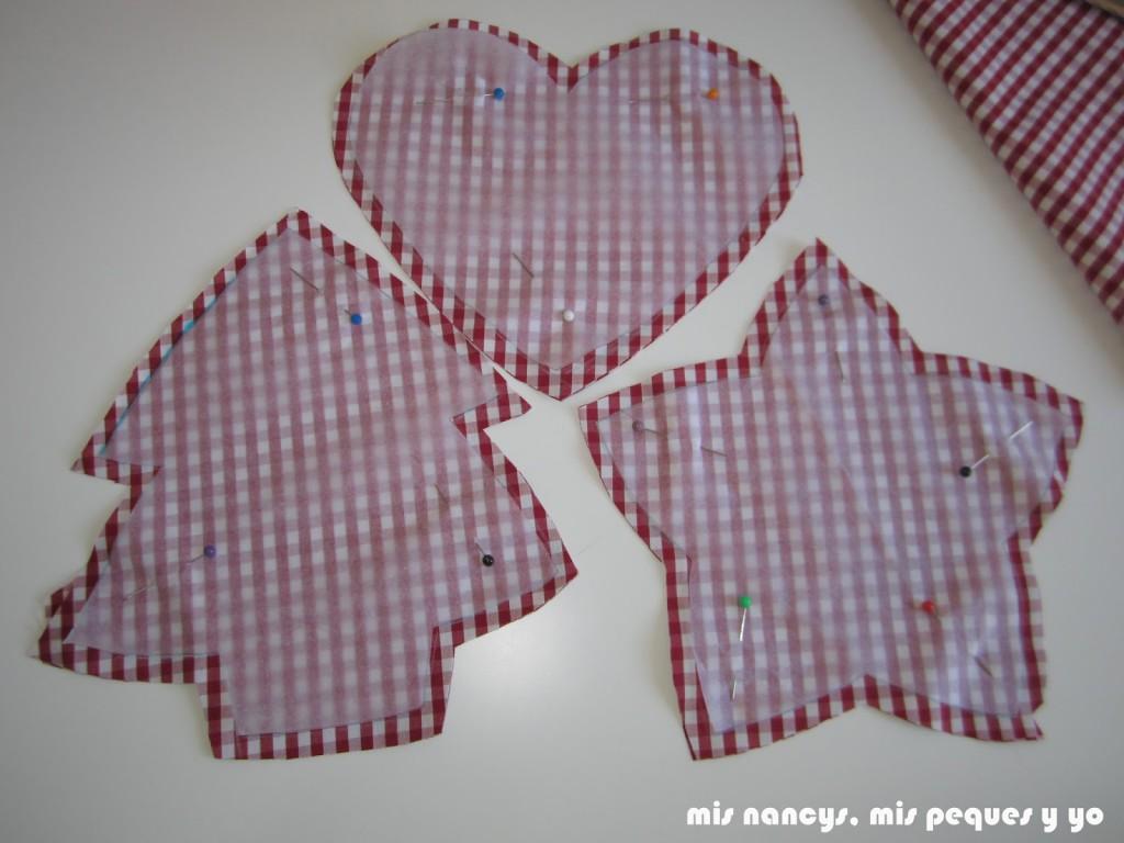 mis nancys, mis peques y yo, tutorial DIY adornos Navidad, tela cortada