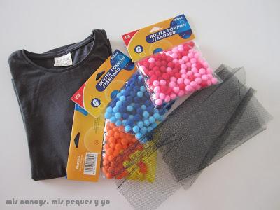 mis nancys, mis peques y yo, tutorial aplique camiseta con pompones, material