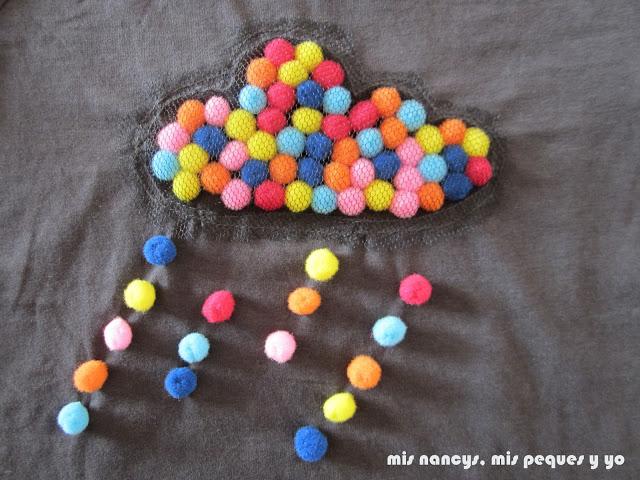 mis nancys, mis peques y yo, tutorial aplique camiseta con pompones, detalle nube con lluvia