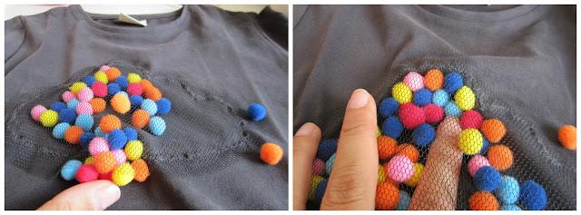 mis nancys, mis peques y yo, tutorial aplique camiseta con pompones, introducir pompones colores
