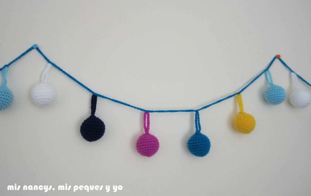 mis nancys, mis peques y yo, guirnalda con bolas de crochet, tramos