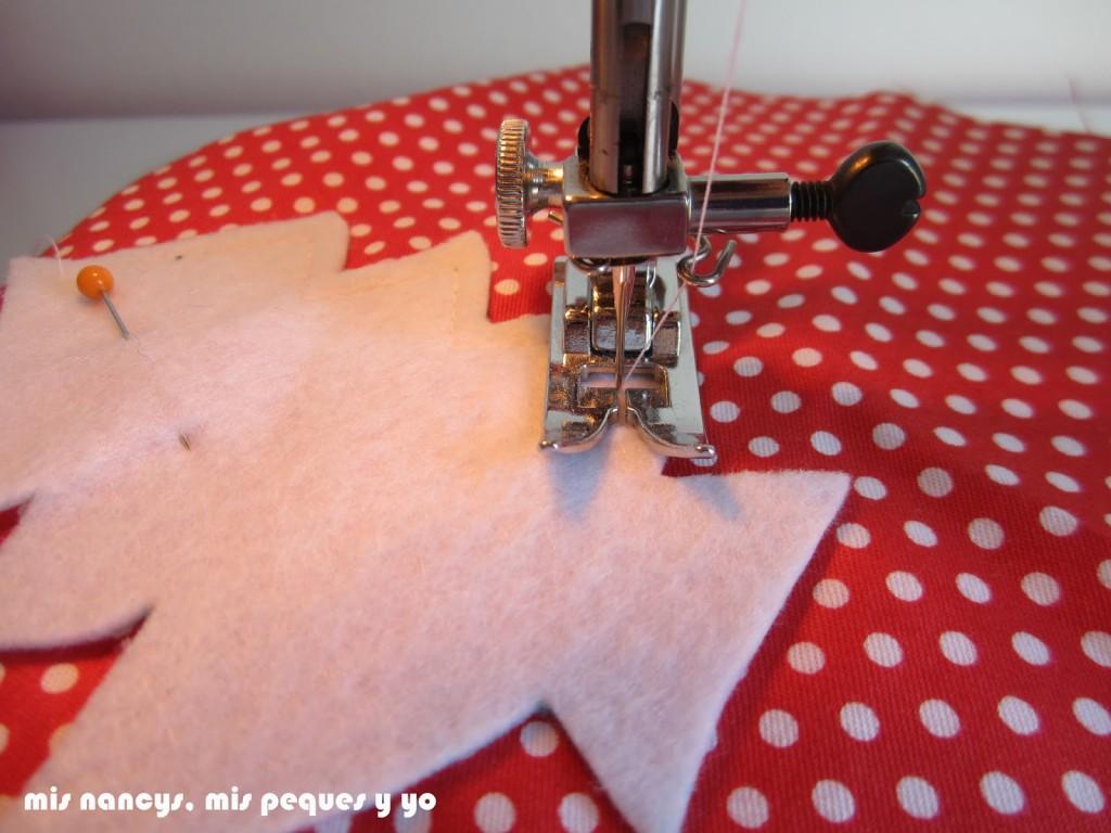 mis nancys, mis peques y yo, tutorial bolsitas de Navidad reversibles, coser perímetro
