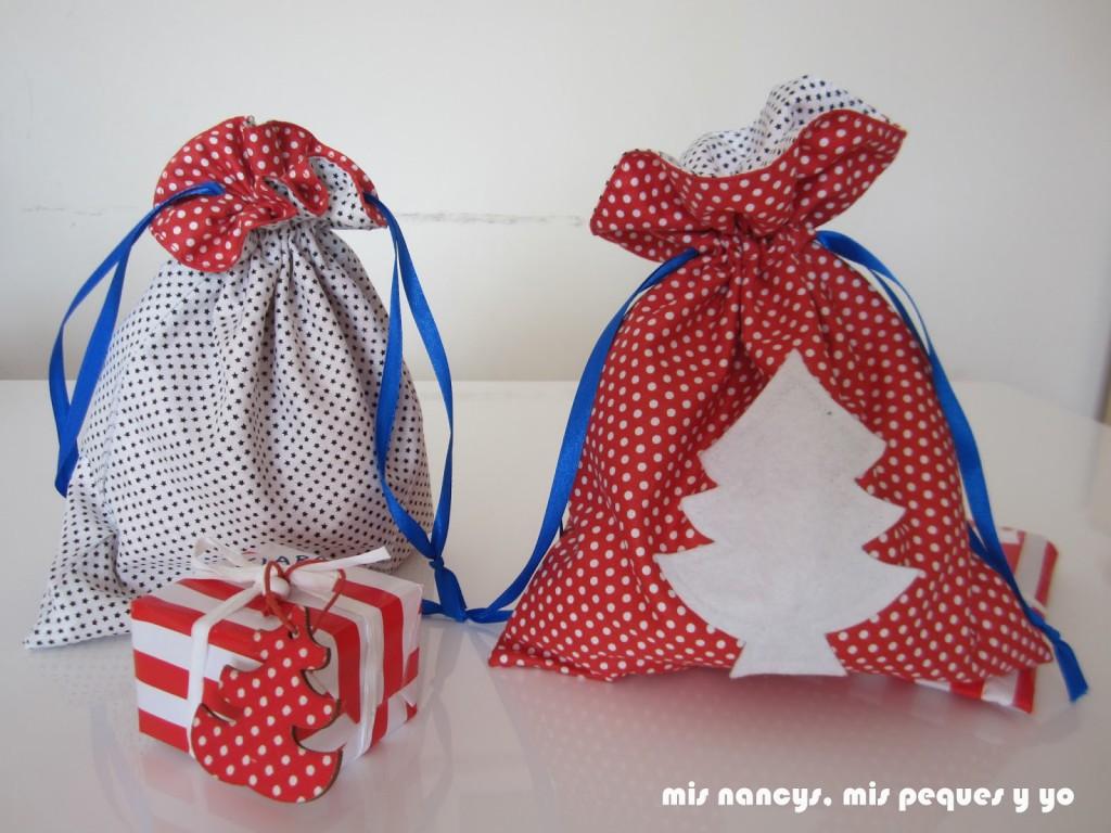 mis nancys, mis peques y yo, tutorial bolsitas de Navidad reversibles, bolsas para regalos