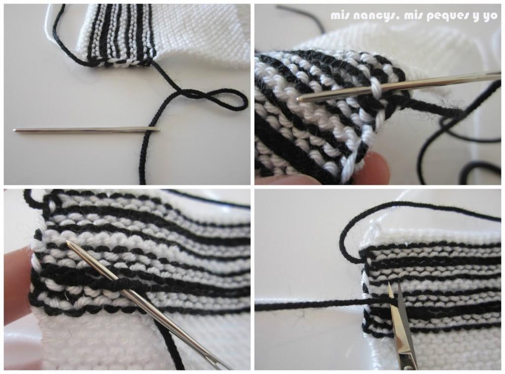 mis nancys, mis peques y yo, tutorial jersey de lana para Nancy, parte delantera, rematamos hebras
