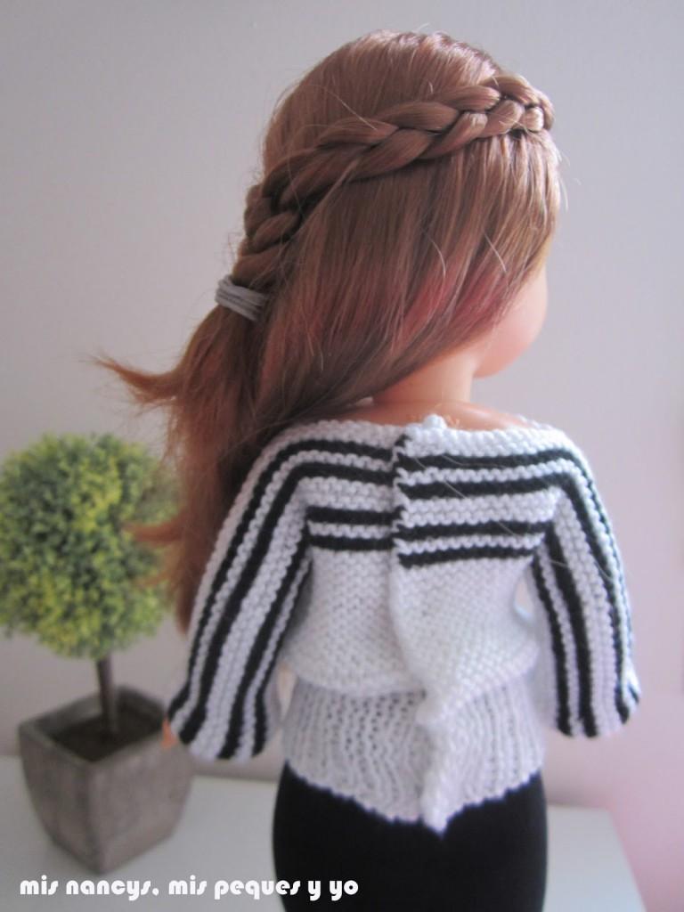 mis nancys, mis peques y yo, tutorial jersey de lana blanco y negro para Nancy (patrón gratis) detalle espalda