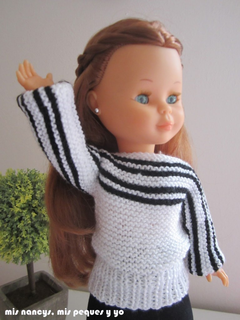 mis nancys, mis peques y yo, tutorial jersey de lana blanco y negro para Nancy (patrón gratis)