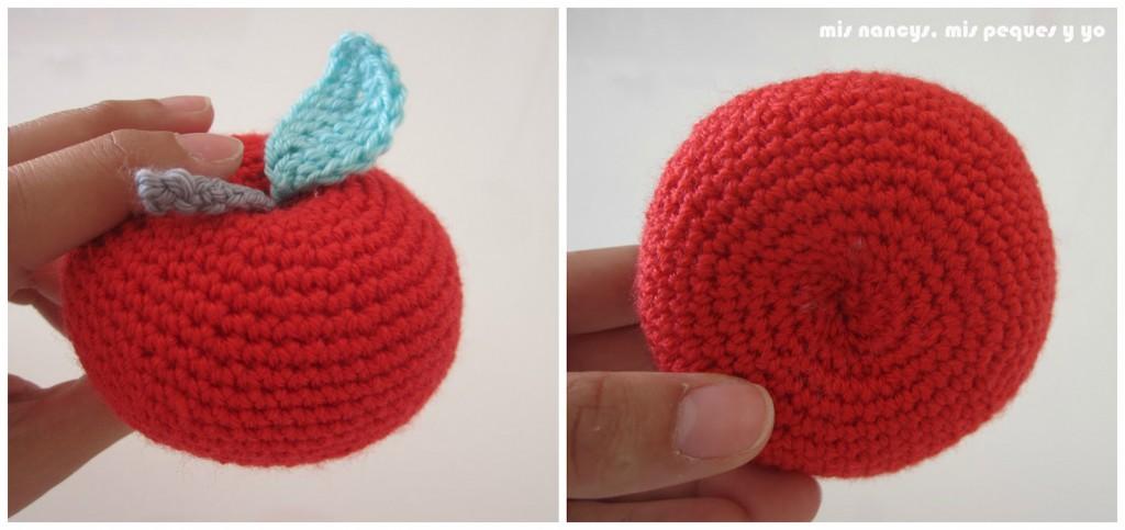 mis nancys, mis peques y yo, manzanas amigurumis, manzana roja parte inferior