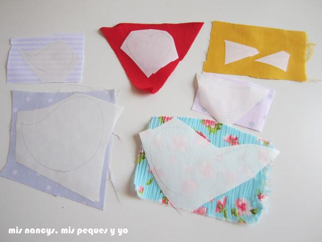 mis nancys, mis peques y yo, tutorial aplique en camiseta, birds in love, piezas