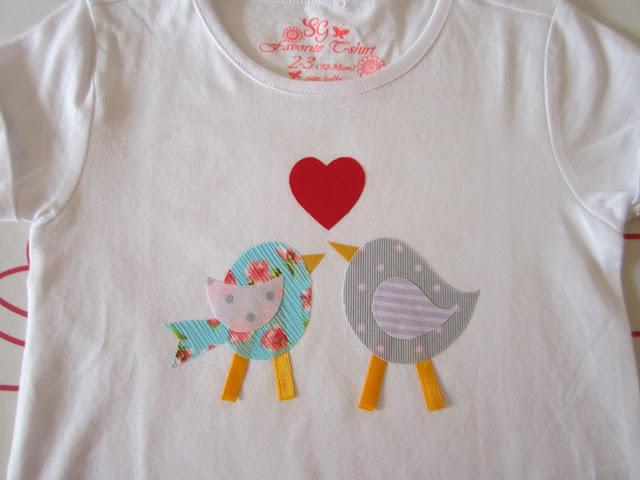 mis nancys, mis peques y yo, tutorial aplique en camiseta, birds in love, piezas planchadas
