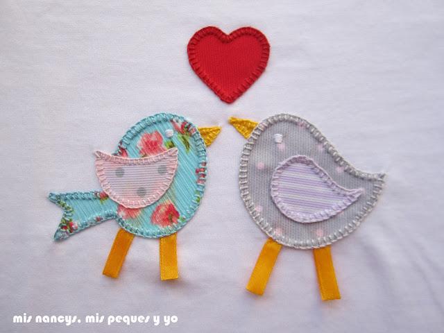 mis nancys, mis peques y yo, tutorial aplique en camiseta, birds in love, punto festón detalle