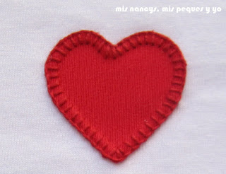 mis nancys, mis peques y yo, tutorial aplique en camiseta, birds in love, punto festón corazón
