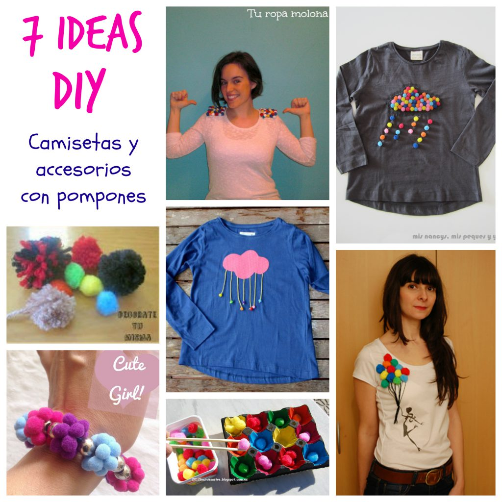 mis nancys, mis peques y yo, 7 ideas DIY camisetas y accesorios con pompones