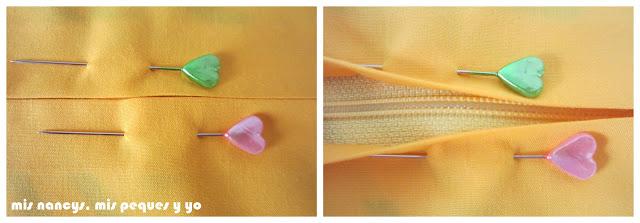 mis nancys, mis peques y yo, tutorial DIY funda de cojín sencilla con cremallera y volante, sujetar cremallera con alfileres