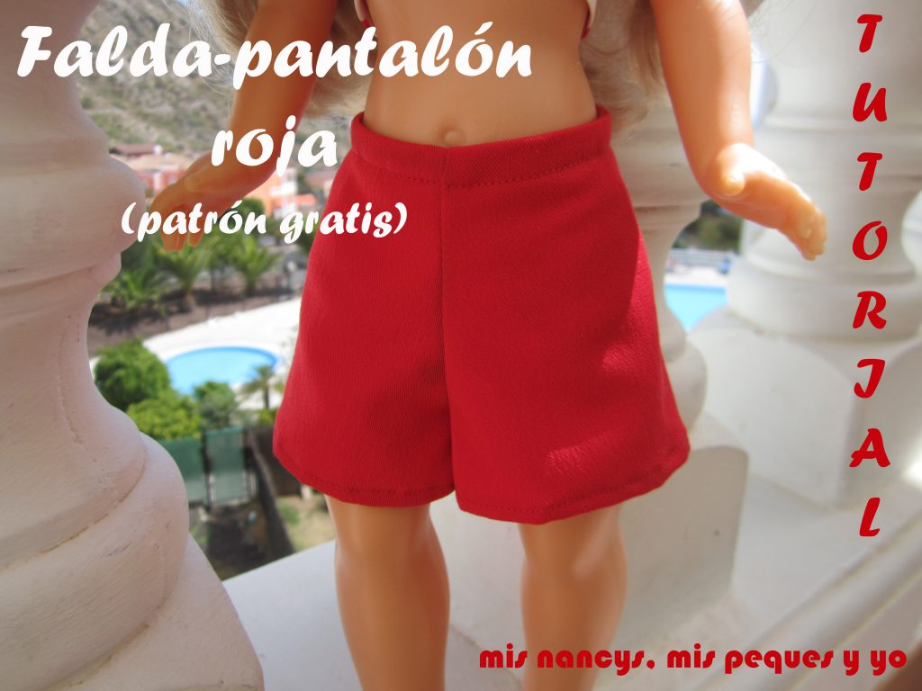 mis nancys, mis peques y yo, tutorial falda pantalon roja, patrones gratis