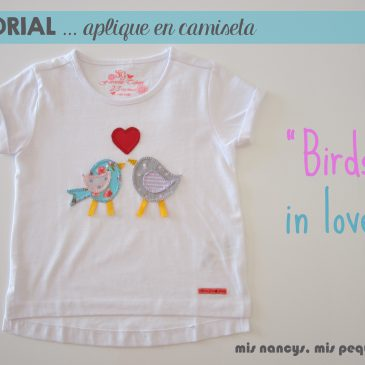 "Tutorial aplique en camiseta… ""Birds in love"""