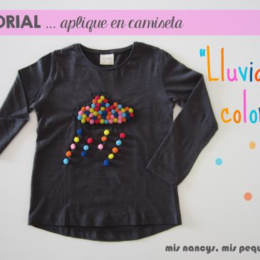 "Tutorial Aplique en camiseta… ""Lluvia de colores"""