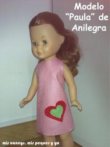mis nancys, mis peques y yo, vestido fácil de fieltro para nancy modelo paula de anilegra