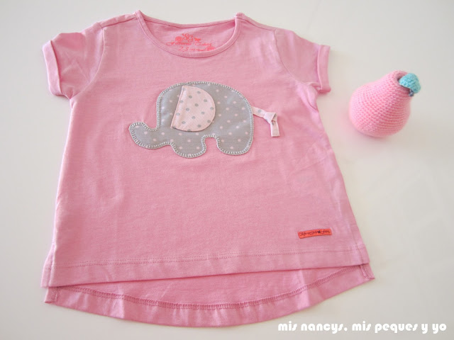mis nancys, mis peques y yo, camiseta aplique elefante, rosa con lunares