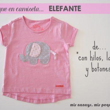 """Camiseta con aplique de Elefante de """"Con hilos, lanas y botones"""""""