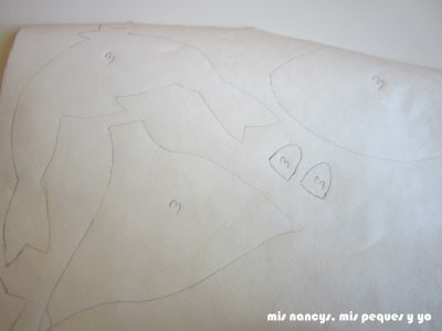 mis nancys, mis peques y yo, tutorial aplique en camiseta muñequita, piezas en la flixelina