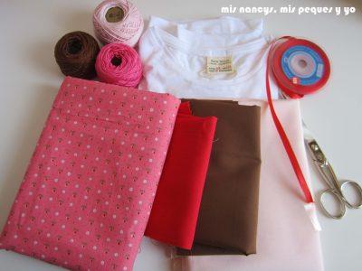 mis nancys, mis peques y yo, tutorial aplique en camiseta muñequita, materiales