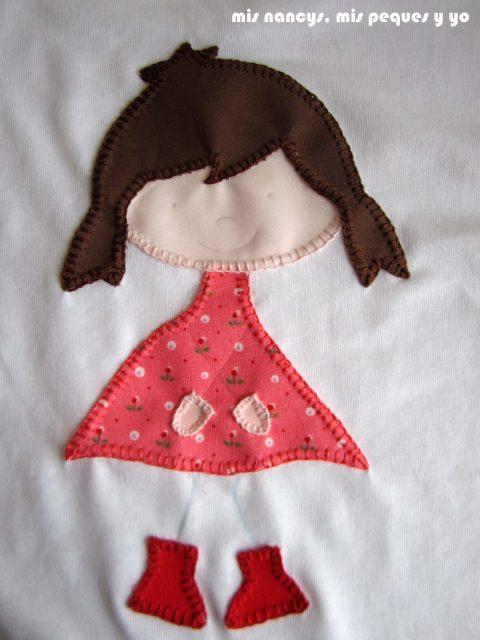 mis nancys, mis peques y yo, tutorial aplique en camiseta muñequita, dibujamos los brazos y piernas