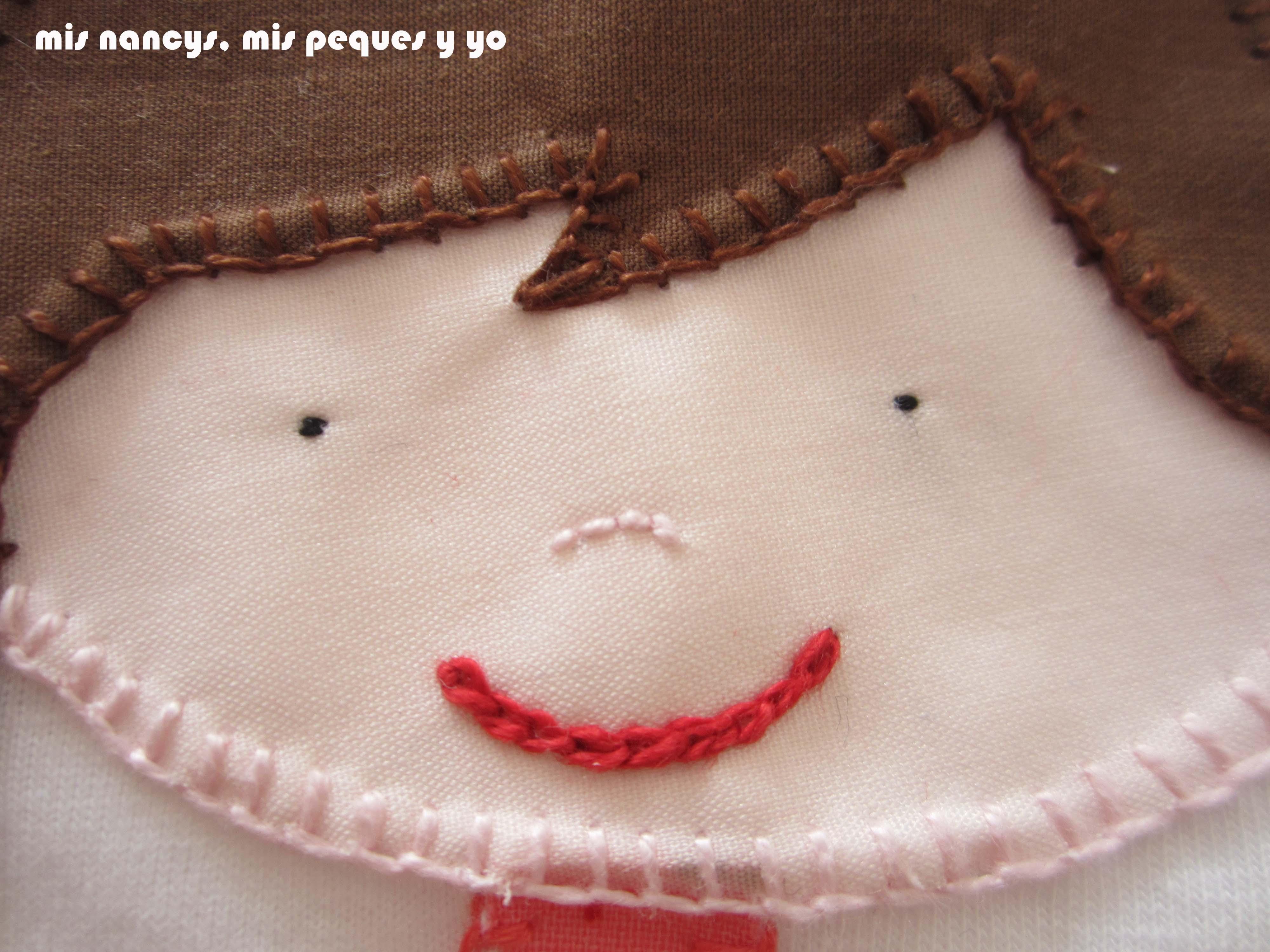 mis nancys, mis peques y yo, tutorial aplique en camiseta muñequita, bordamos la cara