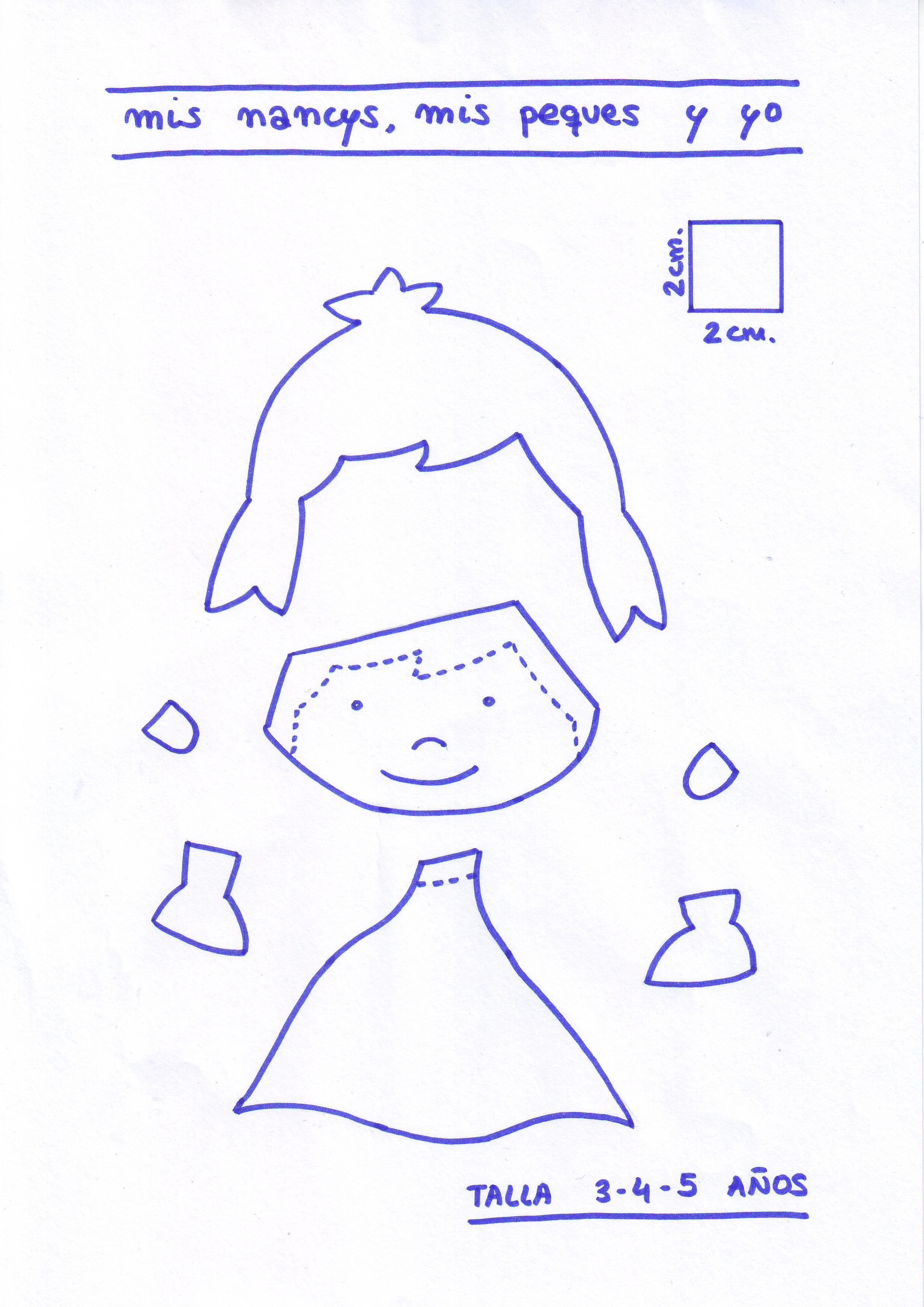 mis nancys, mis peques y yo, tutorial aplique en camiseta muñequita linda, Patrón despiece muñequita TALLA 3,4,5