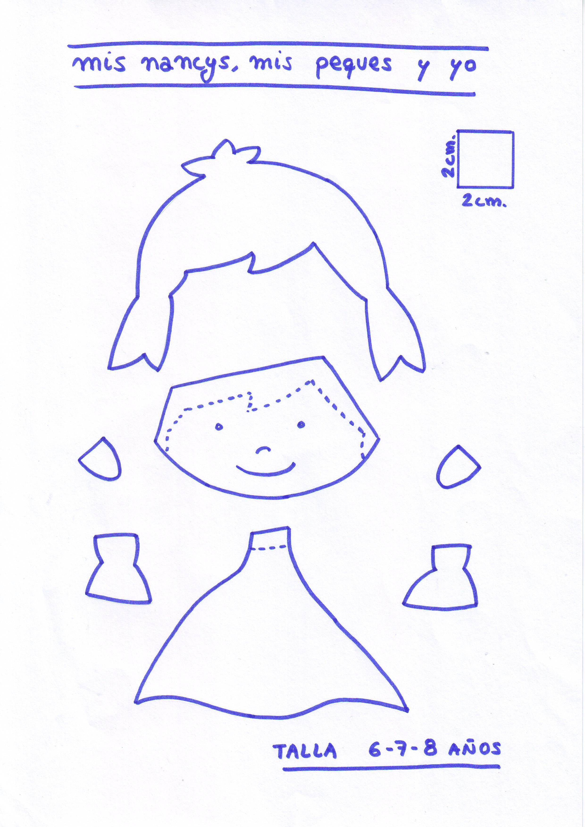 mis nancys, mis peques y yo, tutorial aplique en camiseta muñequita linda, Patrón despiece muñequita TALLA 6,7,8