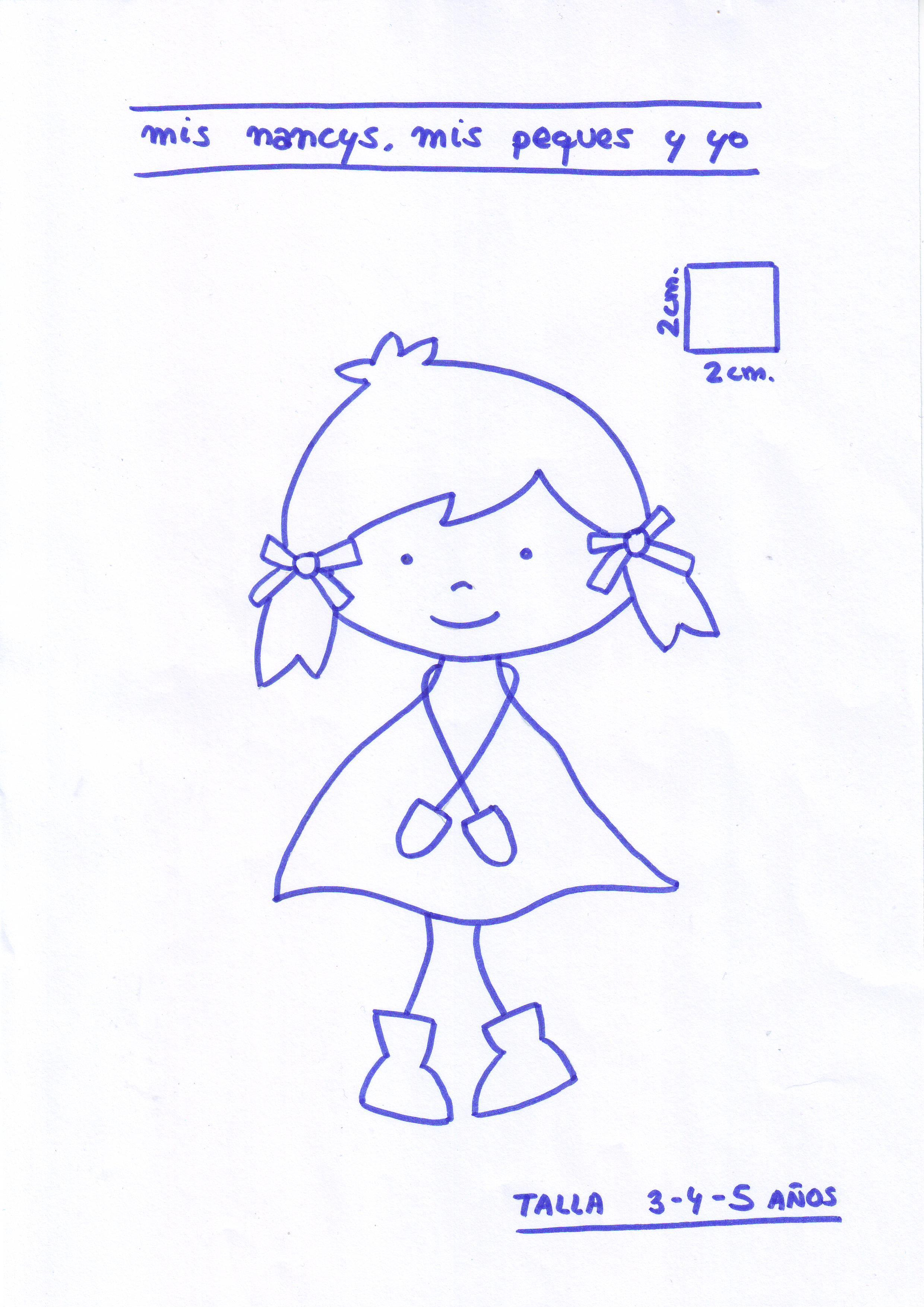 mis nancys, mis peques y yo, tutorial aplique en camiseta muñequita linda, Patrón muñequita TALLA 3,4,5