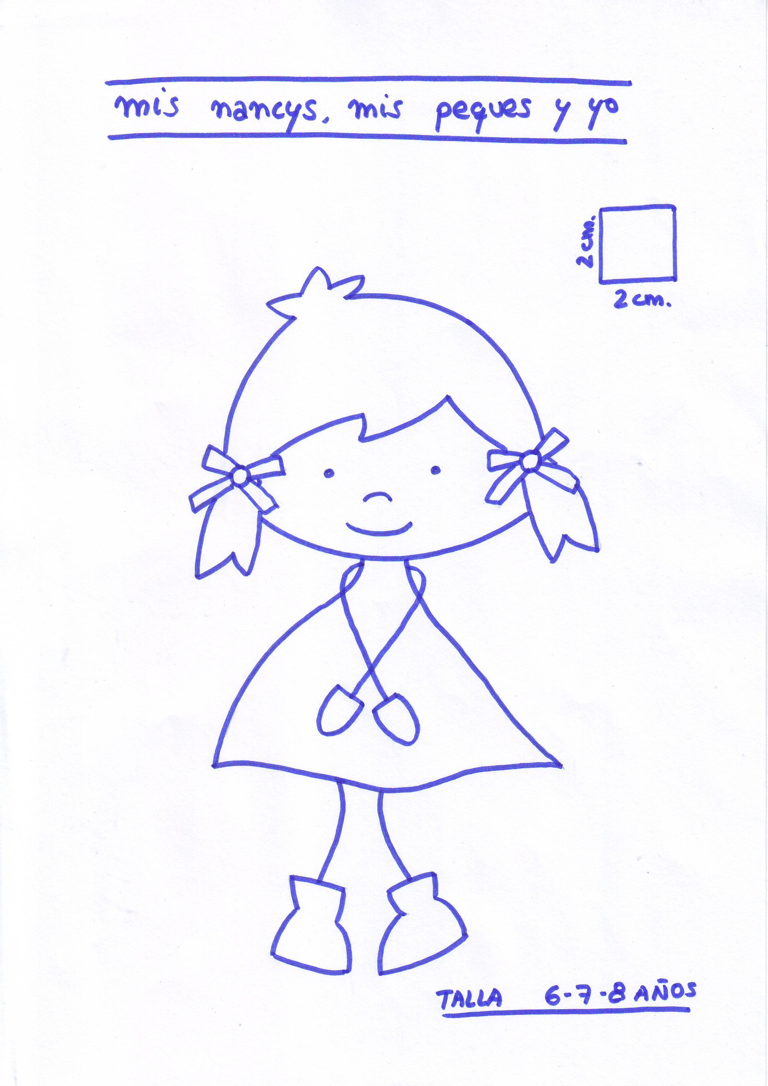 mis nancys, mis peques y yo, tutorial aplique en camiseta muñequita linda, Patrón muñequita TALLA 6,7,8