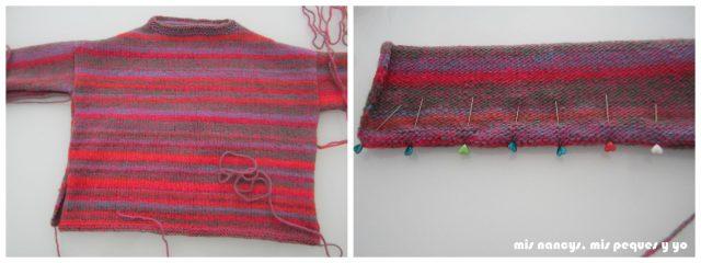 mis nancys, mis peques y yo, Tutorial DIY como coser un jersey de lana, coser el bajo de la manga