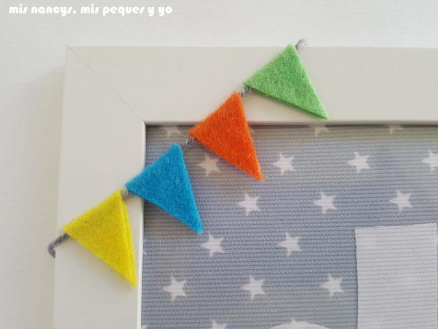 mis nancys, mis peques y yo, corona de tela para niños y marco personalizado, marco personalizado con inicial de tela, detalle banderines