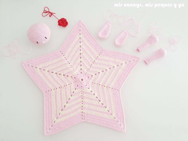 mis nancys, mis peques y yo, manta de apego con conejita amigurumi, partes conejita amigurumi y estrella de crochet