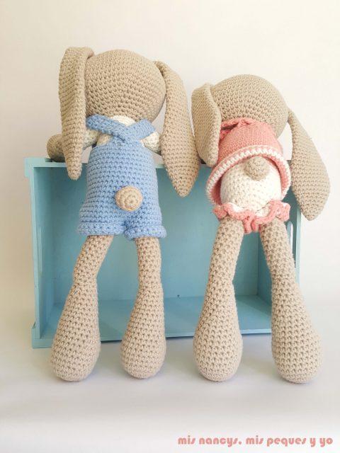 mis nancys, mis peques y yo, pareja de conejitos amigurumis, detalle del culete