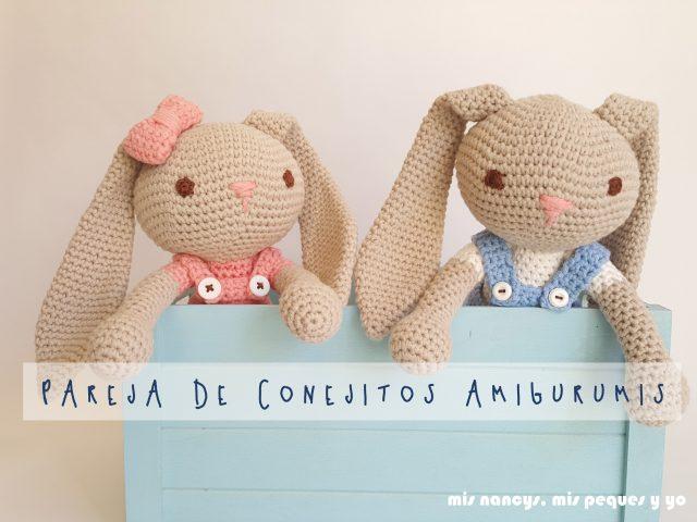 mis nancys, mis peques y yo, pareja de conejitos amigurumis, con patron de creativa atelier