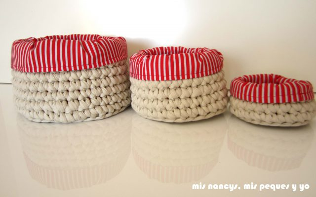 mis nancys, mis peques y yo, juego de tres cestas de trapillo redondas, con fundas de tela