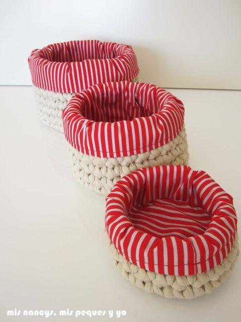 mis nancys, mis peques y yo, juego de tres cestas de trapillo redondas, tres cestas con fundas de tela