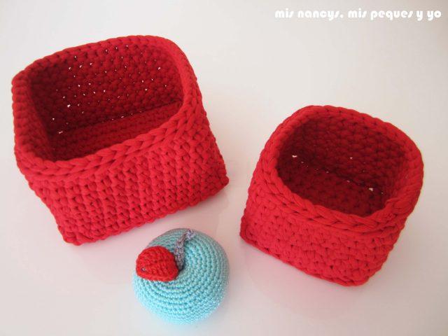mis nancys, mis peques y yo, juego de dos cestas de trapillo cuadradas