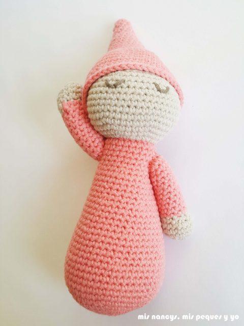 mis nancys, mis peques y yo, mellizos dormilones, pareja de bebes amigurumis, detalle bebe rosa