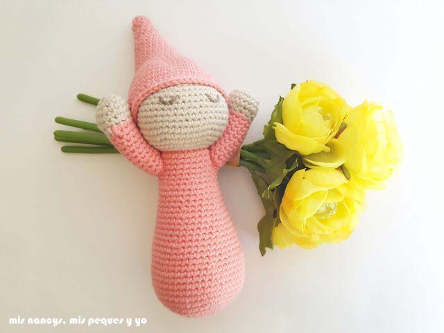 mis nancys, mis peques y yo, mellizos dormilones, pareja de bebes amigurumis, bebe rosa con patron de lanas y ovillos