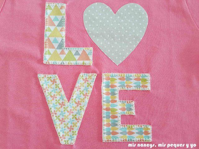 mis nancys, mis peques y yo, tutorial aplique en camiseta love, punto feston cada pieza