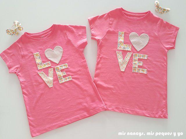 mis nancys, mis peques y yo, tutorial aplique en camiseta love, dos camisetas terminadas