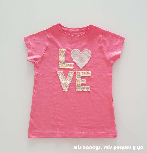 mis nancys, mis peques y yo, tutorial aplique en camiseta love, camiseta terminada