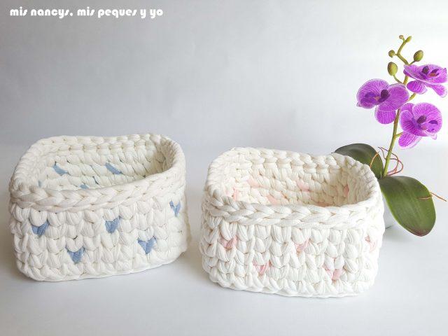 mis nancys, mis peques y yo, cestas de trapillo cuadradas con lunares, conjunto de cestas pequeñas con lunares