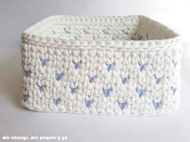 mis nancys, mis peques y yo, cestas de trapillo cuadradas con lunares, detalle lunares